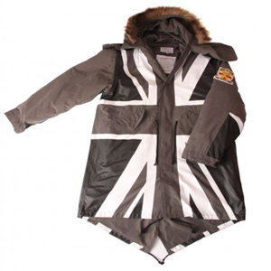 david watts monochrome union flag fishtail parka
