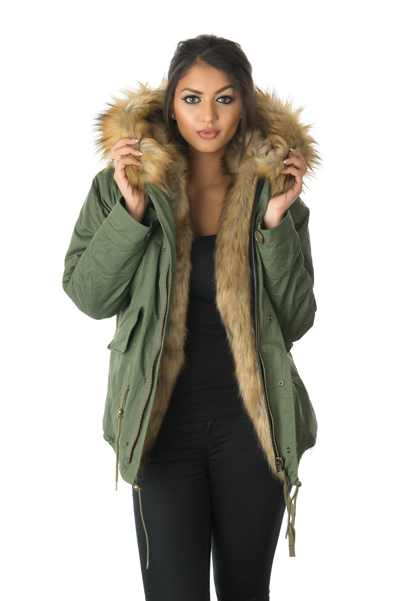 faux fur lined parka jacket
