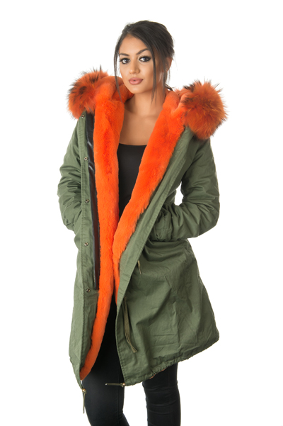 Stonetail | Women's Orange Fur Parka Coat