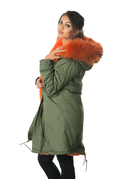 orange fur lined parka coat side womens ... fa4f4e6de9