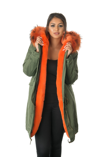 womens orange fur lined parka coat