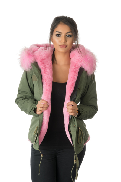 pink fur parka jacket