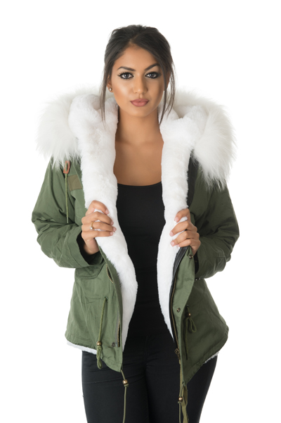 Green Parka With White Fur Hood
