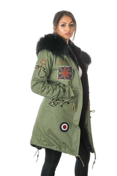 womens braided fur parka