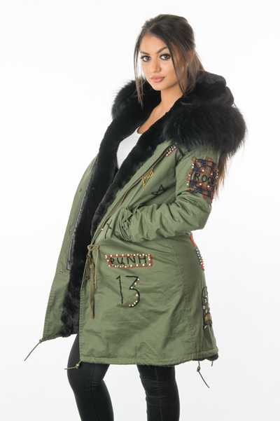 womens badged fur lined parka coat
