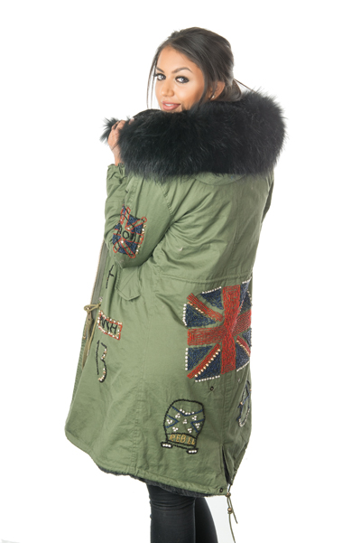 Stonetail Women S Military Badged Amp Braided Fur Parka Coat