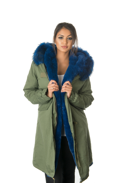 blue fur parka coat