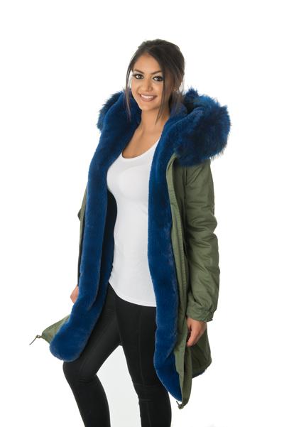Stonetail   Women's Blue Fur Parka Coat