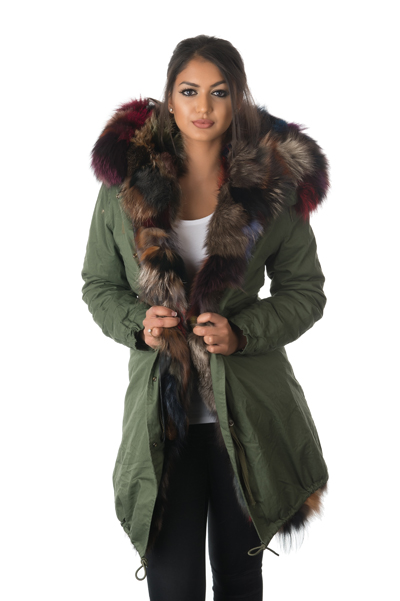 womens fox fur patched parka coat