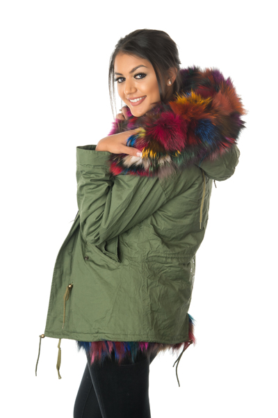 Stonetail Women S Multi Coloured Fox Fur Parka Jacket