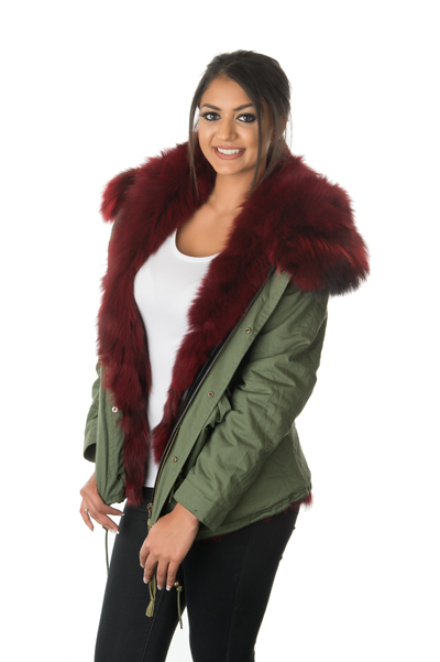 Stonetail Women S Ruby Red Fox Fur Parka Jacket