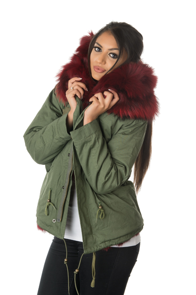 Stonetail | Women's Ruby Red Fox Fur Parka Jacket