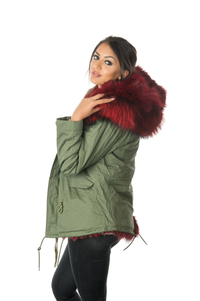 Stonetail Women S Ruby Red Fox Fur Parka Jacket