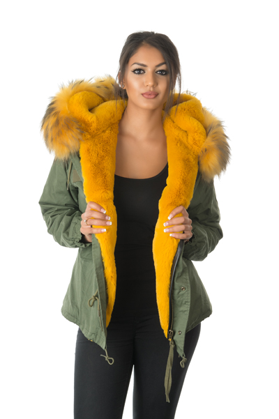 yellow fur parka jacket