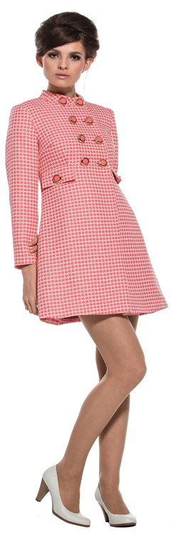 Marmalade | Fitted Patterned Coat With 4 Pink / Gold Buttons