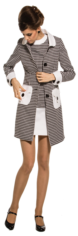 Marmalade Patterned Coat With White Collar Pockets And